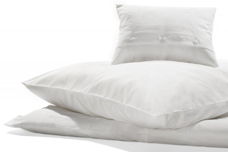 Bettwäsche Weiß Feinstreifen, Damast