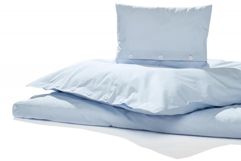 Bettwäsche Gewaschene Baumwolle, Arctic hellblau 155 x 220 cm | 1 Kissen 80 x 80 cm
