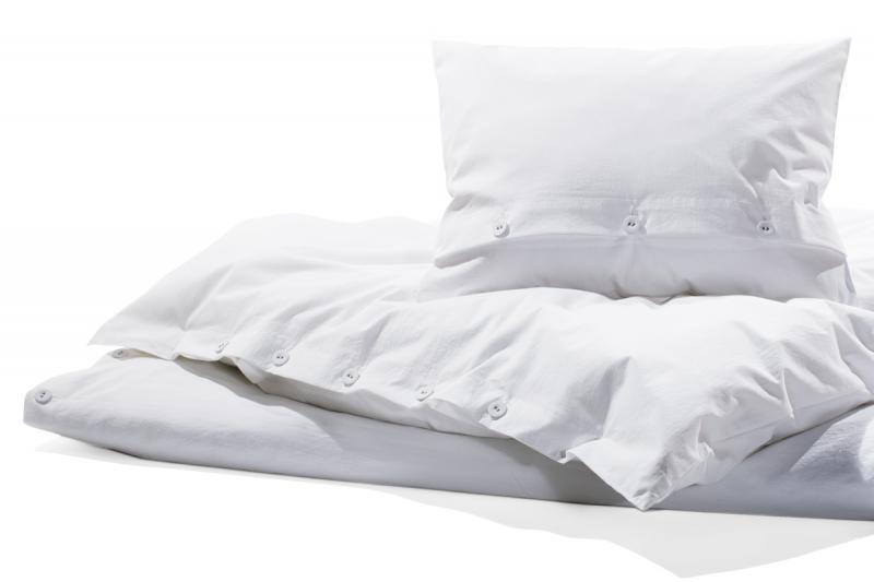 Bettwäsche Gewaschene Baumwolle, Bianco weiss 155 x 220 cm | 1 Kissen 80 x 80 cm