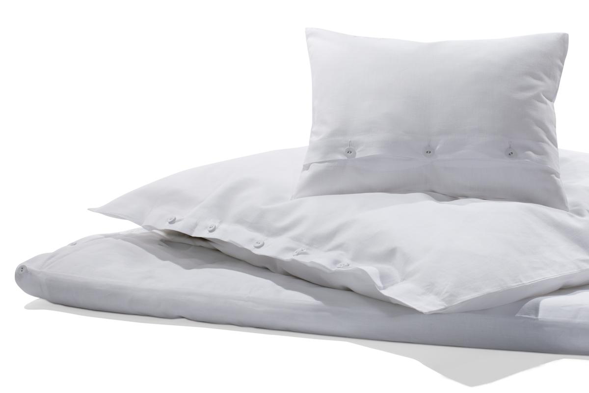 Bettwäsche Halbleinen Weiß 135 X 200 Cm 1 Kissen 80 X 80 Cm